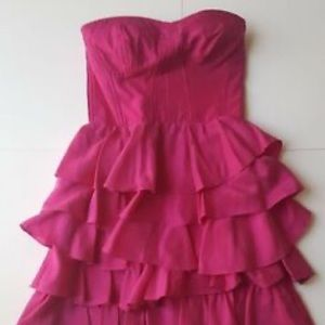 Rebecca Taylor Strapless Pink Silk Ruffle  Dress